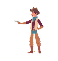 cowboy man pointing a gun - cartoon character in vector image