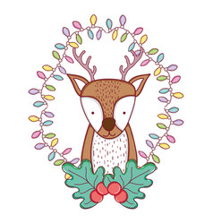 cute christmas reindeer with wreath vector image