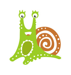 Cute friendly snail character funny mollusk vector