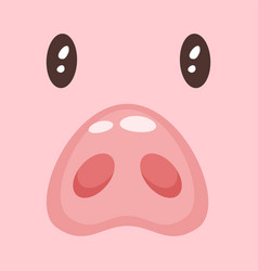 cute pink pig fac vector image