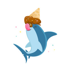 cute shark character licking melted ice cream cone vector image