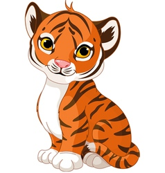Cute tiger cub vector