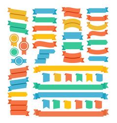 different types decoration color ribbon set vector image