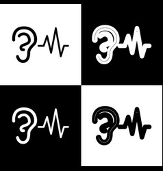 Ear hearing sound sign black and white vector
