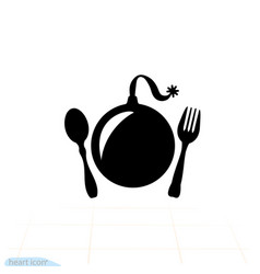 explosive food bomb fork and spoon icon vector image
