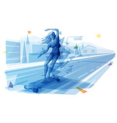 Female dancing on longboard at city street vector