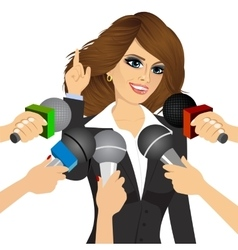 female politician answering press questions vector image