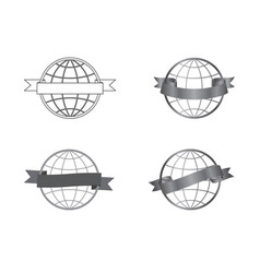 festive ribbons icons set around a globe vector image