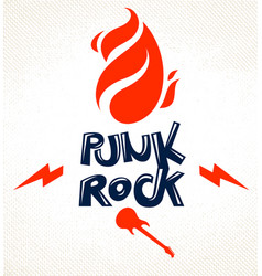 flames lightning bolt and typing rock emblem or vector image