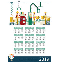flat industrial 2019 year calendar template vector image