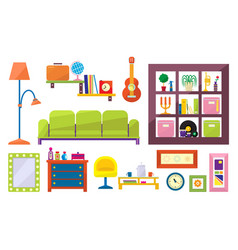 flat set of furniture and interior elements vector image
