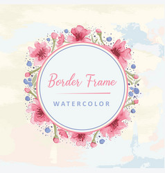 Floral round border watercolor vector