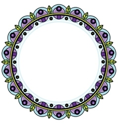 Floral wreath in zentangle style circle frame vector