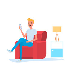 Freelancer man using smart phone on sofa in vector