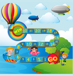 game template with kids in the park vector image