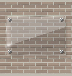 Glass frame on brick wall vector