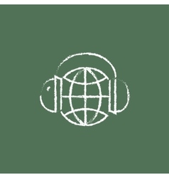 Globe in a headphones icon drawn chalk vector