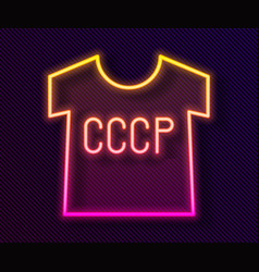 glowing neon line ussr t-shirt icon isolated on vector image