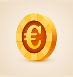 gold coin of euro isolated on bright background vector image