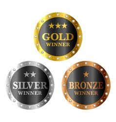 Gold silver and bronze winner medals vector image
