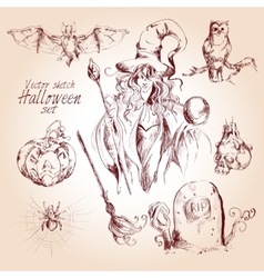 Halloween sketch set vector image
