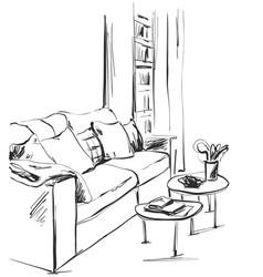 hand drawn room interior sketch chair sofa vector image
