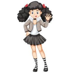happy girl in black skirt vector image