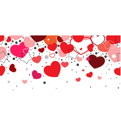 Horizontal seamless background red hearts falling vector