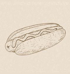 hot dog hand drawn sketch on beige background vector image