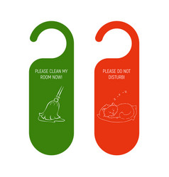 Hotel door red and green hanger do not disturb vector