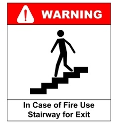 in case of fire use stairway for exit sign vector image