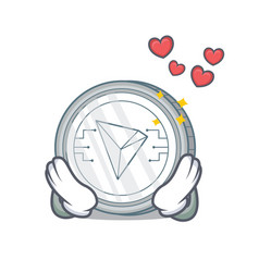 In love tron coin character cartoon vector