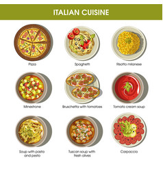 Italian cuisine flat colorful poster with vector