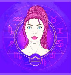 Libra zodiac sign and portrait vector