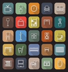 Living room line flat icons with long shadow vector