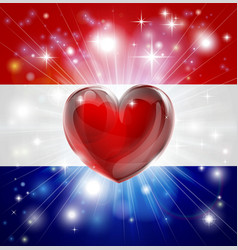 love netherlands flag heart background vector image