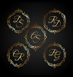 Luxury gold circle frame vector