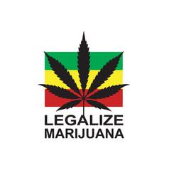 Marijuana leaf on rastafarian flag vector