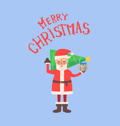 merry christmas santa claus hold evergreen spruce vector image