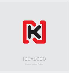n and k initial logo nk - design element or icon vector image