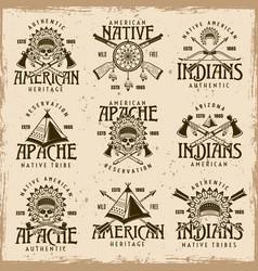 native american indians set emblems vector image