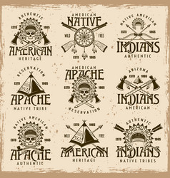 native american indians set of emblems vector image