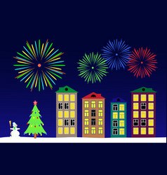 New year night in the town vector