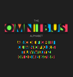 Omnibus font and alphabet numbers vector