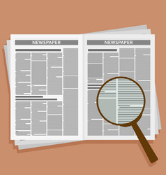 Open newspaper with loupe vector