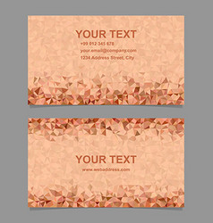 Orange triangle mosaic business card template vector