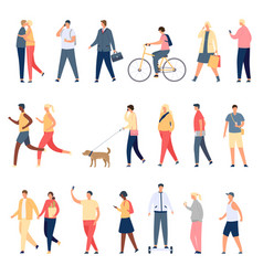 People walk flat characters walking with dog vector