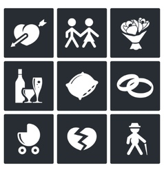 Peoples lives icons set vector image