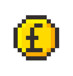 Pixel art pound golden coin retro video game vector