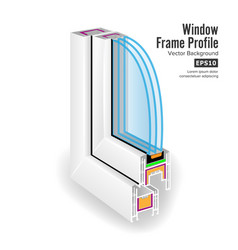 plastic window frame profile structure corner vector image